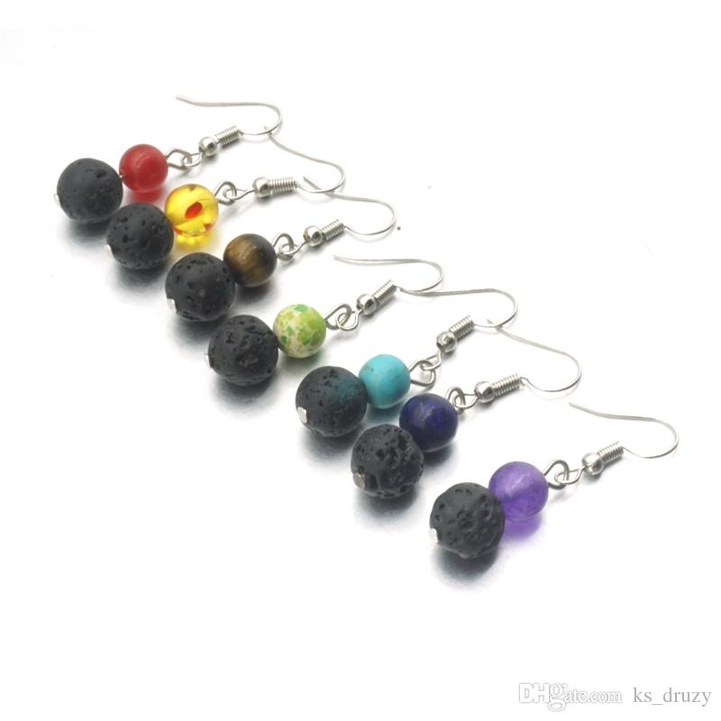 Cheap 8mm Chakras 10mm Lava Stone Bead Earring Aromatherapy Essential Oil Perfume Diffuser Dangle Earrings for women jewelry