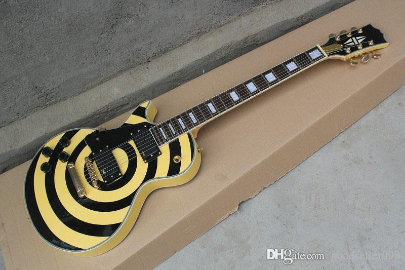 qualidade Frete grátis Top LP Custom Shop canhota Pickups amarelo guitarra elétrica em estoque