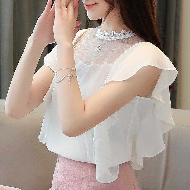 2019 Летней одежды нового стиля шифон рубашка Мода Сладкая Сплошного цвет марля Joint свитер мода
