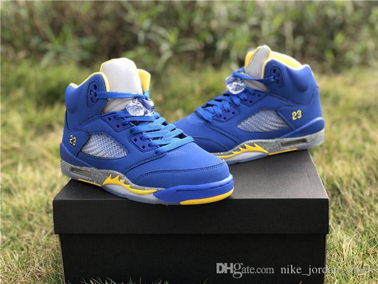 5 JSP Laney 남자 야외 디자이너 스포츠 신발 2019 가장 인기있는 로얄 블루 라이트 숯불 - Varsity 옥수수 23 Jumpman 남자 운동 트레이너