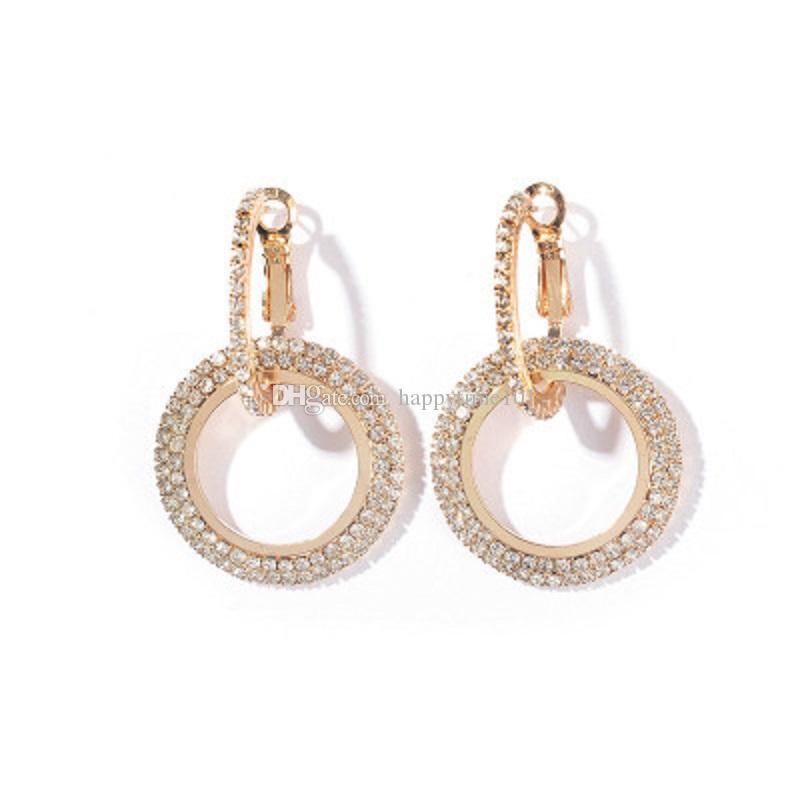 Charm Daire Küpe Geometrik Yuvarlak Parlak Kristal Rhinestone Tasarım Kadınlar için Büyük Küpe Altın Gümüş Moda Düğün Takı