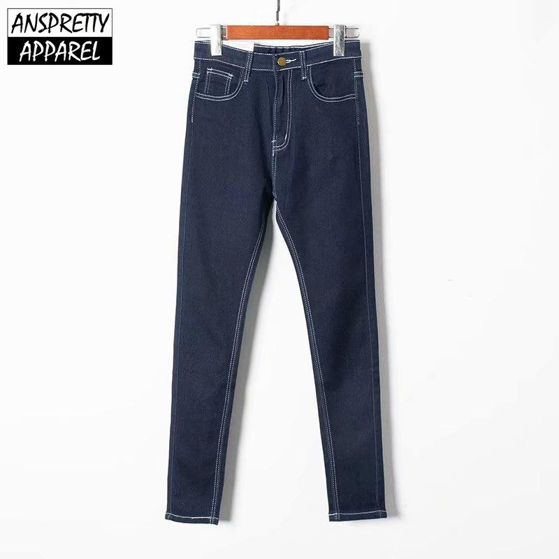 Anspretty Apparel 2019 jeans skinny donna in tessuto stretch jeans a vita alta moda street pencil pantaloni pantaloni casual