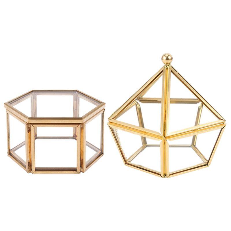 Tampa de vidro 2pcs Box anel de vidro jóia do casamento Caso Immortal Flor criativa decoração de casa