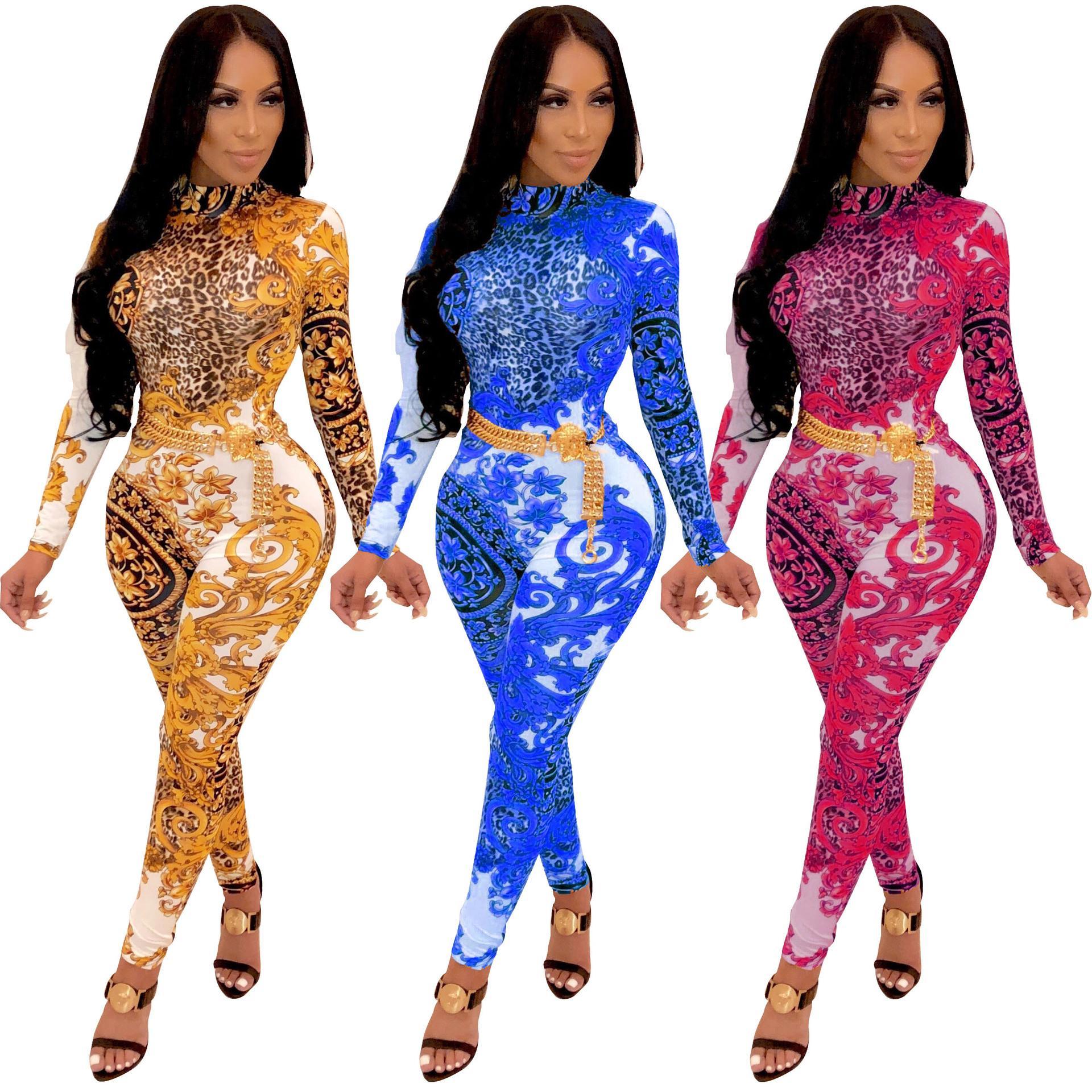 Macacões das mulheres flor estampa de leopardo macacão de manga comprida Sexy Mulheres Bodysuits fatos para brincar macacãozinho Macacões para Venda
