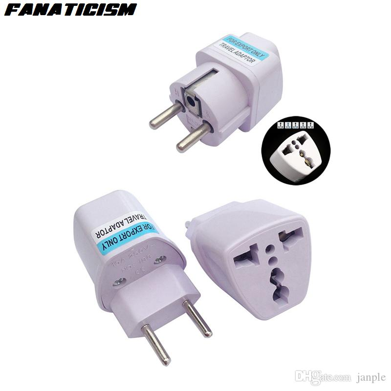 Fanaticism International Universal 2 Pin UK/US/AU To EU Plug Adapter Brazil Italy Travel Charger Electrical Plug Adaptor Converter Socket