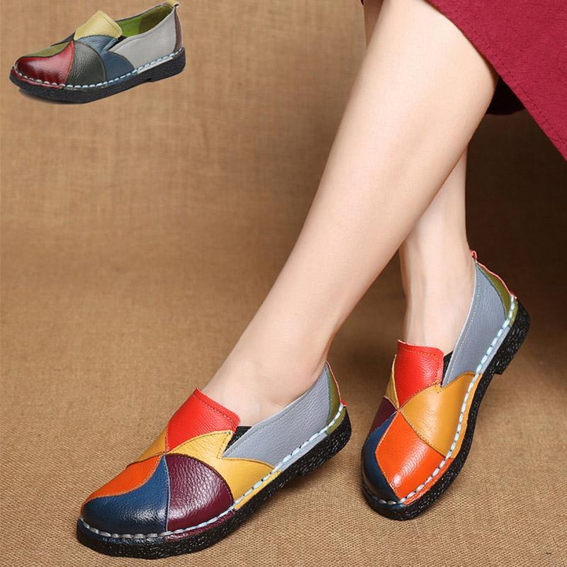 Yaz Düz Ayakkabı Kadınlar loafer'lar Kayma-On Ballet Flats Yuvarlak Burun Balerin Ayakkabı Zapatillas Mujer femme Mocassin Gerçek Deri