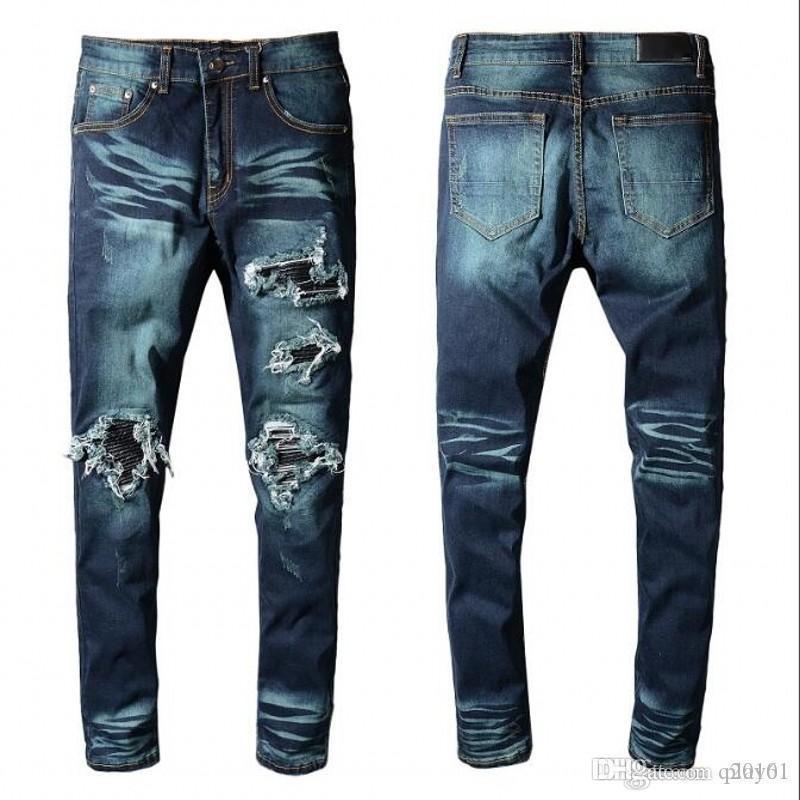 2018 Yüksek kaliteli kot Marka srping BIKER Denim Jeans MEN designe LOS ANGELES SOKAK MODA Delik KOT İNCE Sıska PANTS baskı