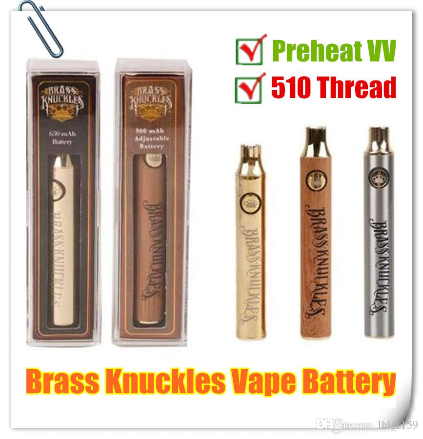 Hot Brass Knuckles Kit Chargeur 510 fil Vape Pen batterie 650 mAh 900 Or en bois Préchauffez tension Batteries huile épaisse cartouche réglables
