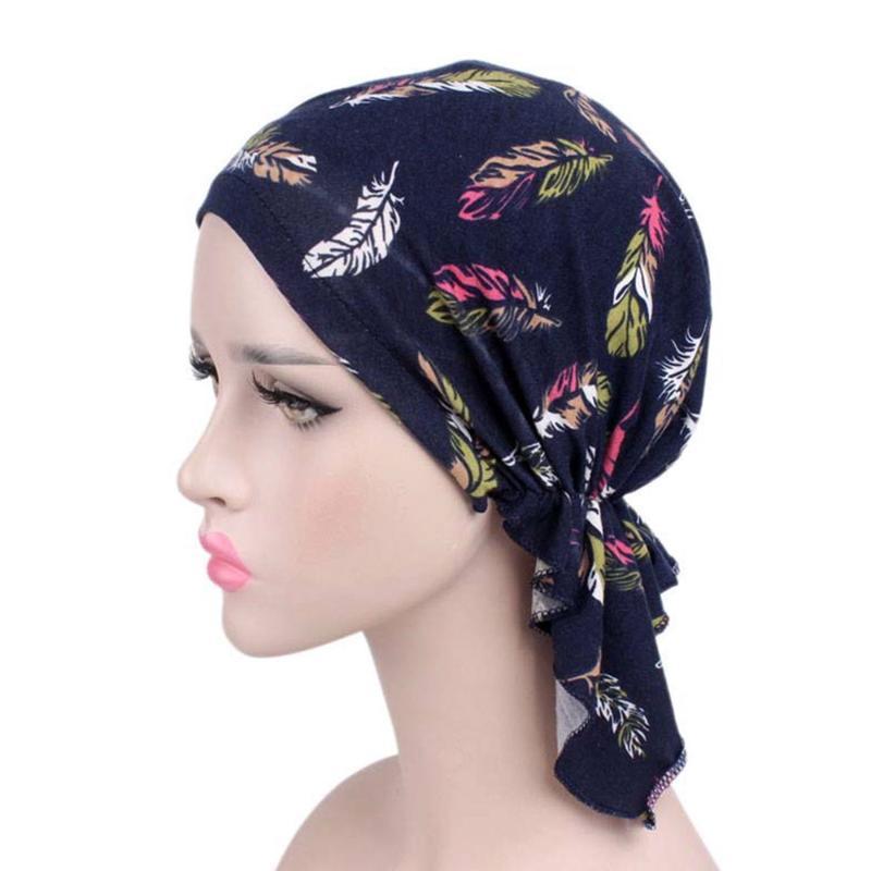 Fiore Donne nuovo modo Ruffle musulmana Beanie sciarpa della testa del turbante Wrap Cap Stampato Headwear signora Scarf musulmana