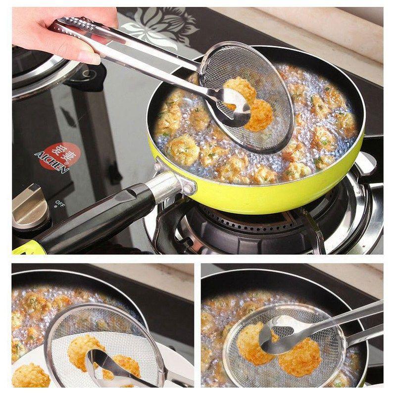 Filtro de acero inoxidable cuchara de aceite de cocina para freír-filtro con clip de múltiples funciones de filtro Coladores herramientas de cocina Accesorios HHA1109