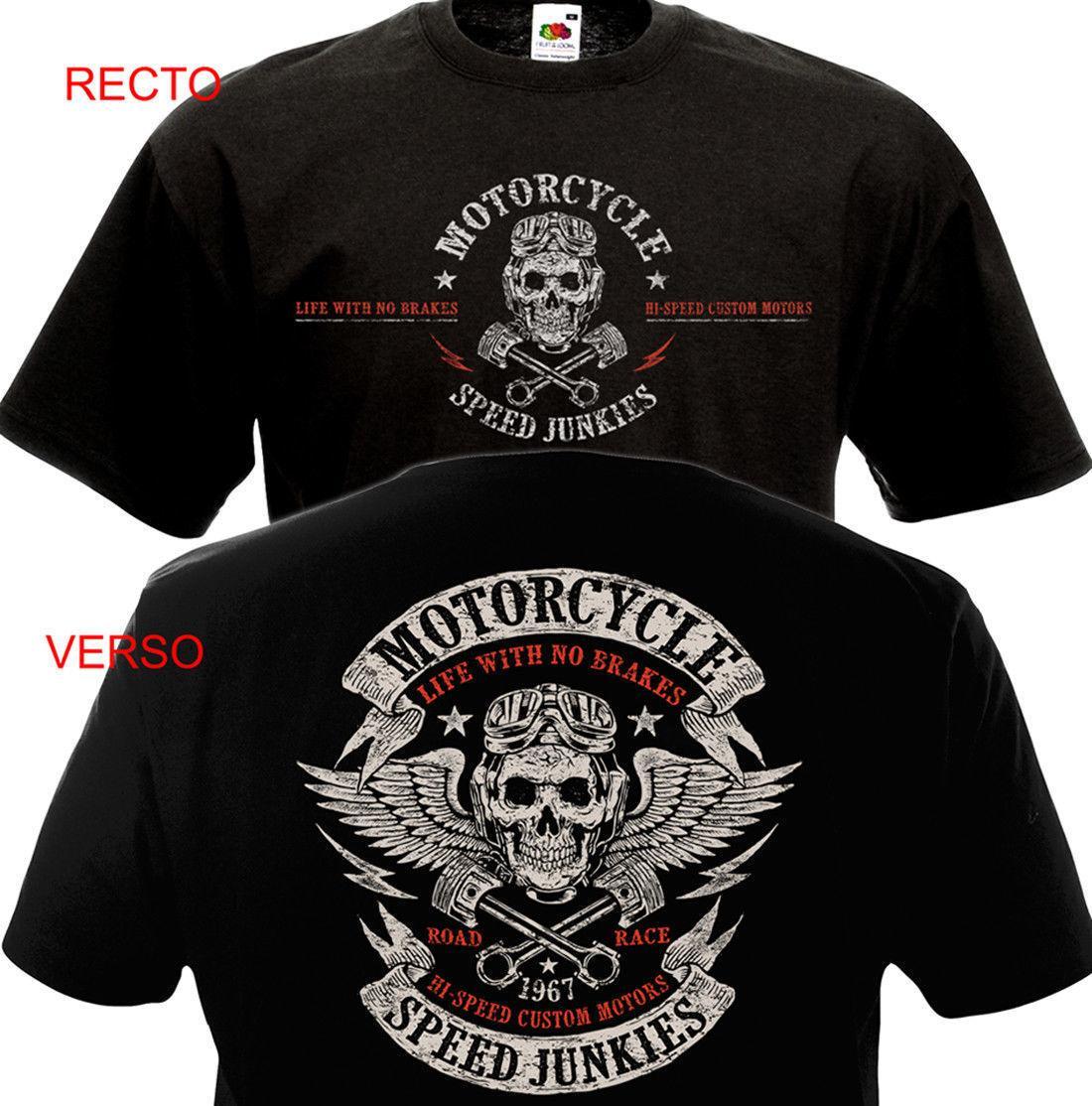 Roupas engraçadas Casuais Camisetas de Manga Curta T-shirt Da Motocicleta Velocidade Junkies Biker Chopper Motard Mc T-shirt Y19060601