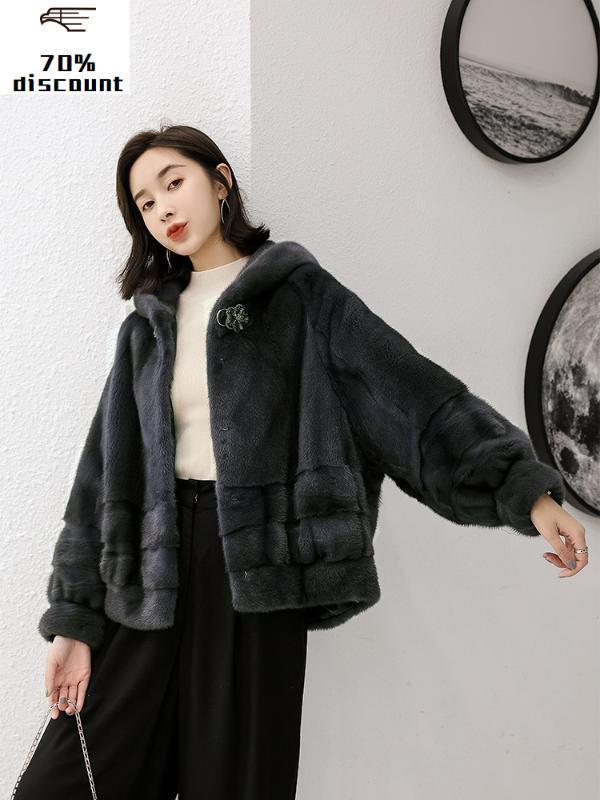 Manteau Femme réel Mink luxe naturel manteaux de fourrure Veste d'hiver à capuchon Femmes Vestes longues pour femmes Vêtements 2020 MY4323
