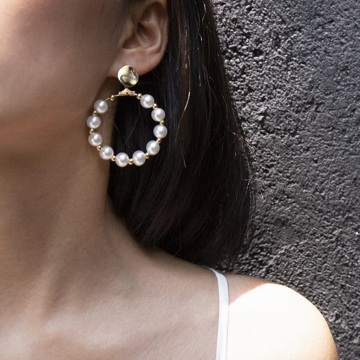 Европейский и американский мода ювелирные изделия темперамент простой геометрии круглые серьги из бисера ретро барокко формы жемчужное кольцо серьги