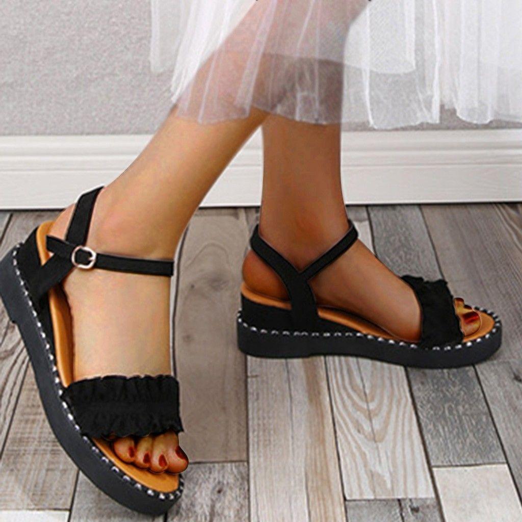Verão Buckle Ruffles Floral Sandal Mulher Para Bohemian Cunhas altura crescente Buckles Sandálias Sapatos Mulher Zapatos de mujer T200327
