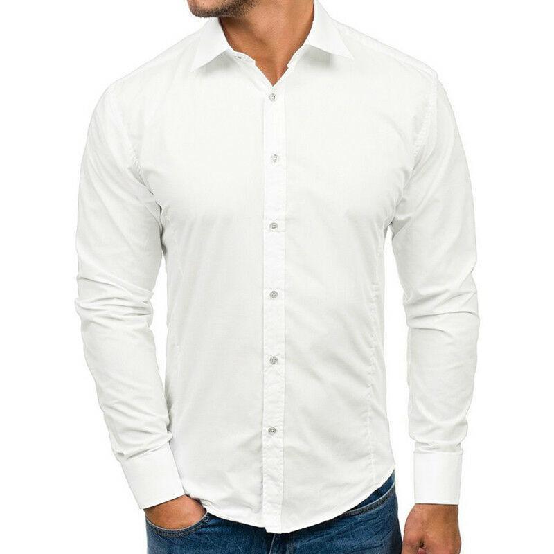 Erkek Elbise Gömlek 2021 Marka Erkekler Rahat Uzun Kollu Katı Slim Fit Erkek Sosyal Iş Gömleti Şık Giyim Bırak