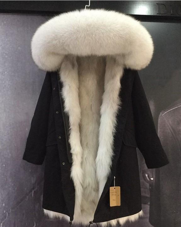 siyah uzun parkas kadın kar kat astar sıcak asil beyaz tilki kürkü Döşeme MUKLA DABAKLANMIS marka beyaz tilki kürkü tutun