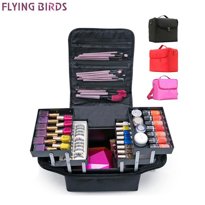 Летающие птицы! Макияж Организатор Crossbody Косметики Сумка Tote туалетной Cosmetic Bag Многослойный ящик для хранения портативного чемодана довольно