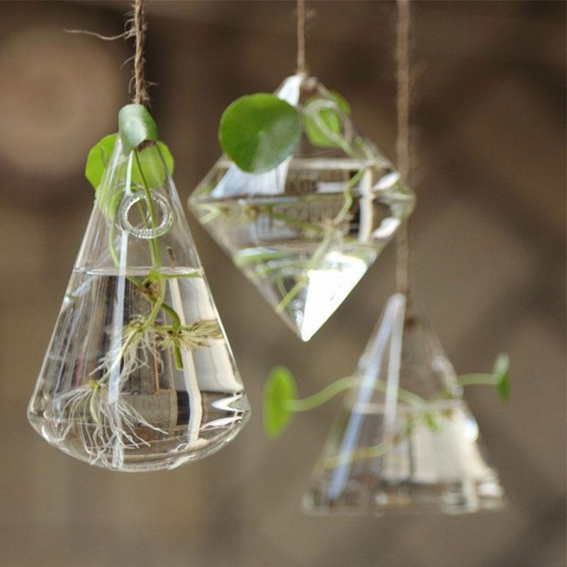 3 Styles Terrarium Glass Vase Hydroponic Plant Flower Clear Container Indoor Hanging Flower Glass Bottle for Home Decor