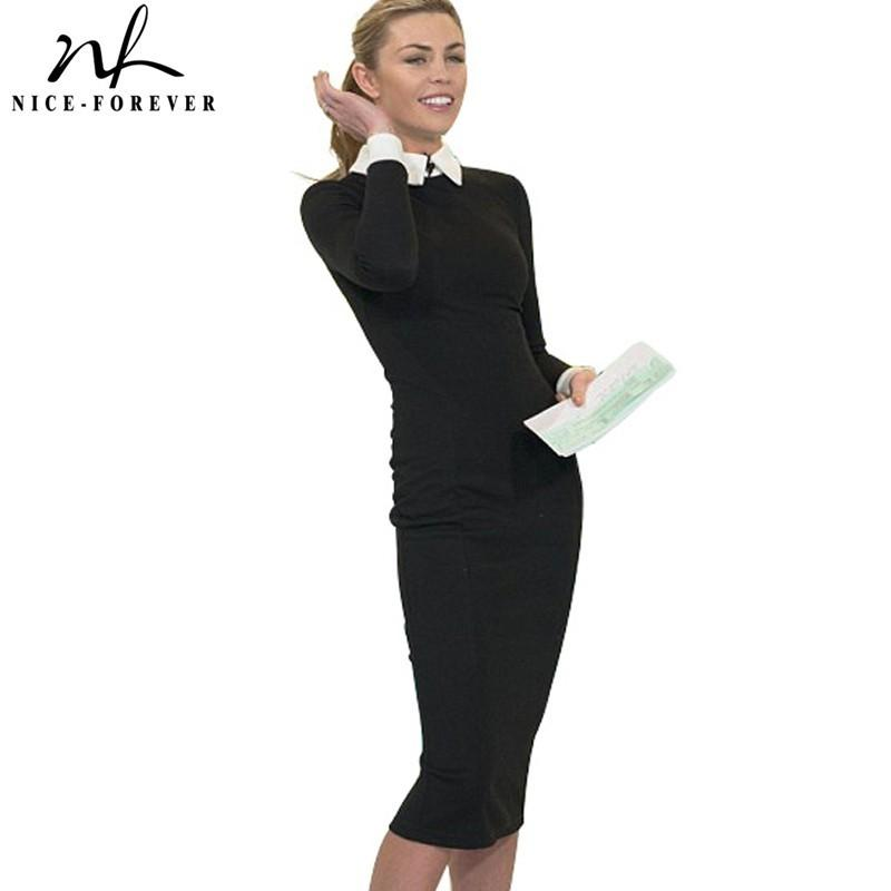 Nice-forever Career Women Autumn Turn-down Collar Fit Work Dress Vintage Elegant Business office Pencil bodycon Midi Dress 751 Y200101