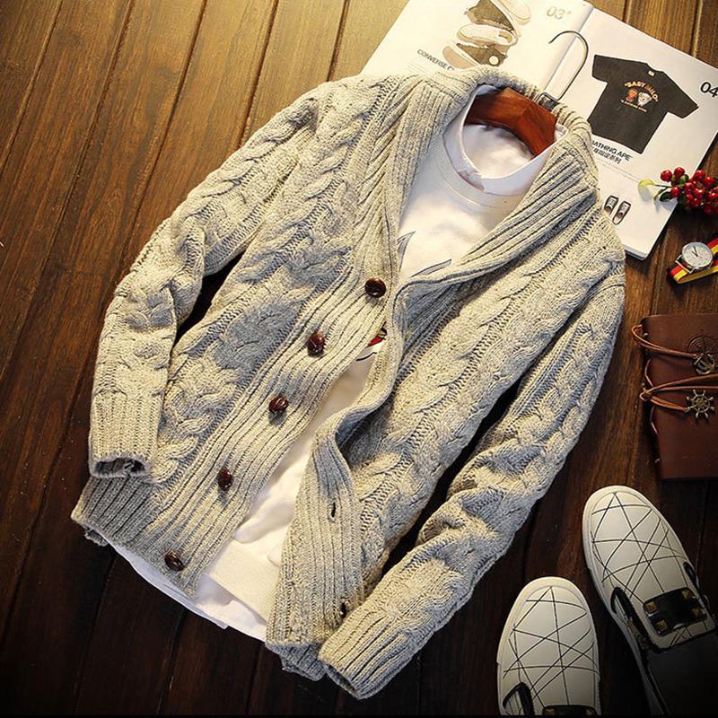 URSPORTTECH Outono Inverno 2018 Moda Casual Brasão Sweater Cardigan Mens Slim Fit Botão Aqueça tricô roupas camisola Coats Homens