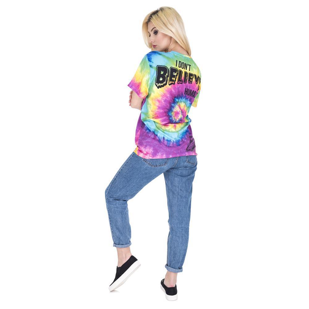 Moda nuovo arrivo di estate Camicia Maglia a manica corta T Alien colorato stampa Tee Shirt modo casuale lungo t-shirt di tendenza