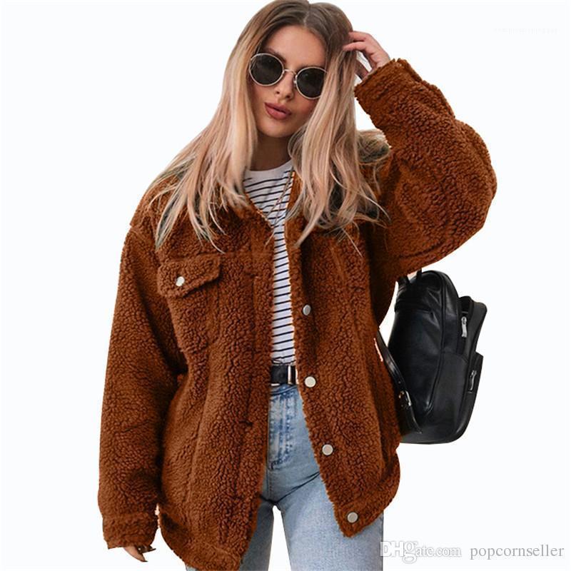 Verdickte Revers Hals Damen-Jacken beiläufige Einreiher Lammwollmäntel Frauen Kleidung Winter Damen-Jacken