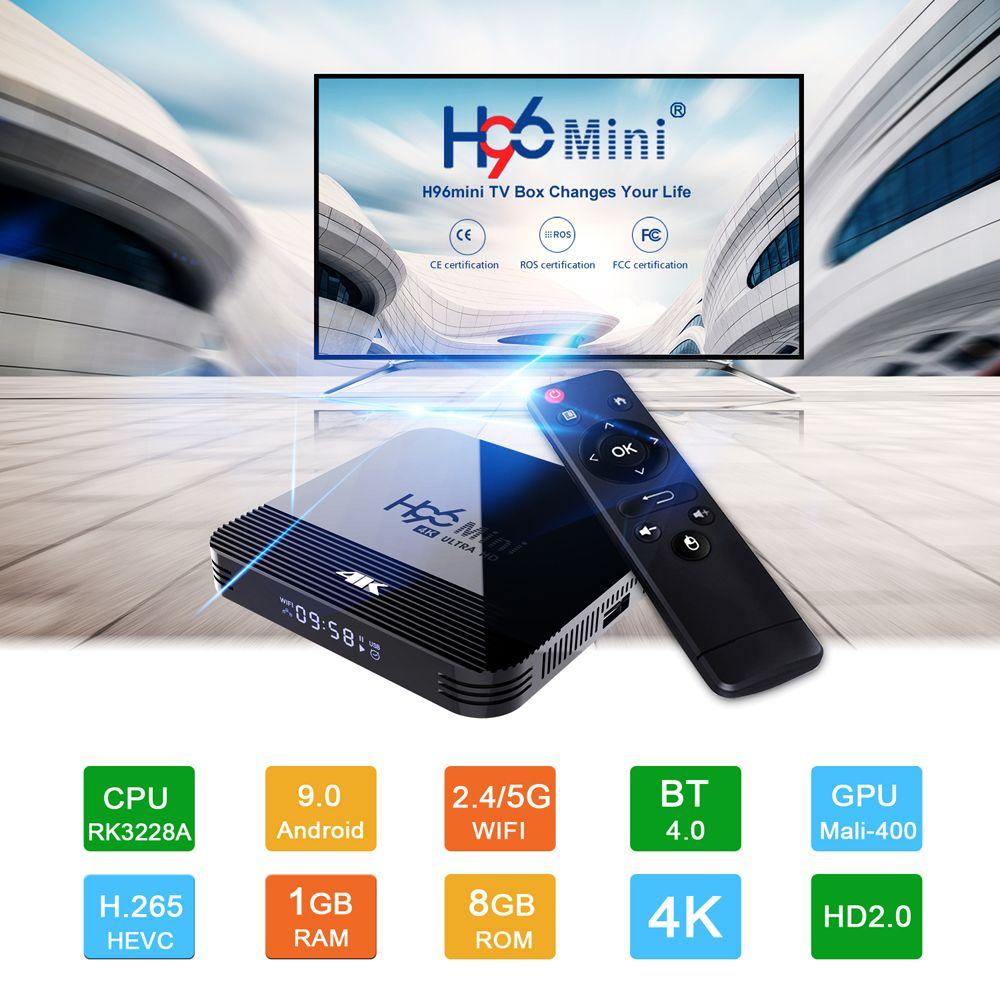 H96 Mini H8 Android 9.0 TV Box 2GB 16GB Rockchip RK3228A 2.4 جرام 5G المزدوج العلامة التجارية WiFi BT4