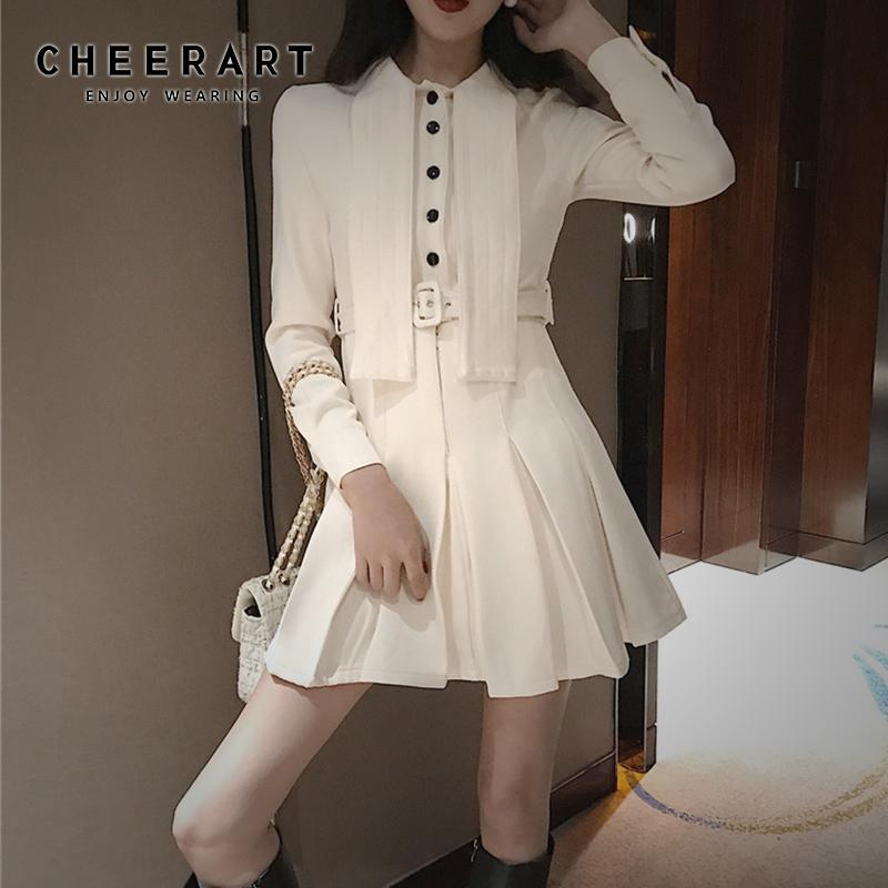 Cheerart Vintage Pleated Blazer Dress A Line Tunic Ladies Dress Women With Belt Japanese Designer Button Robe Femme