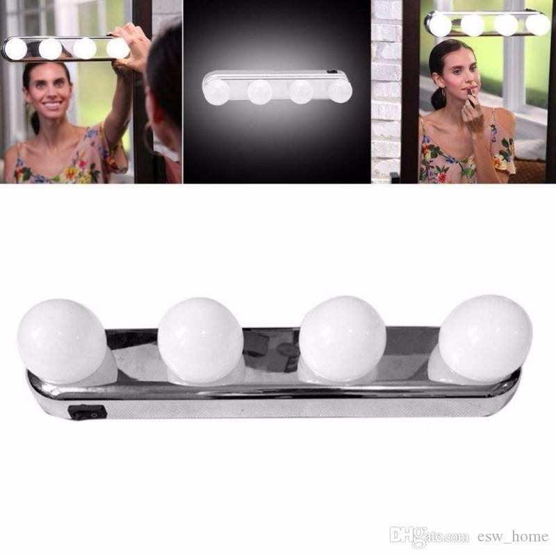 4 LED Ampuller Taşınabilir Stüdyo Makyaj Işık Süper Parlak Kozmetik Ayna Işık Kiti Akülü Makyaj Işık ücretsiz kargo