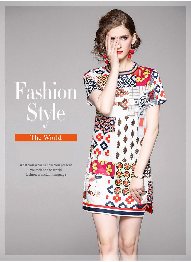 Fashion New Lady & Girl's Short A Dresses Women's Nice Geometric Printing Dress 100% Polyester Leisure Casual Wear