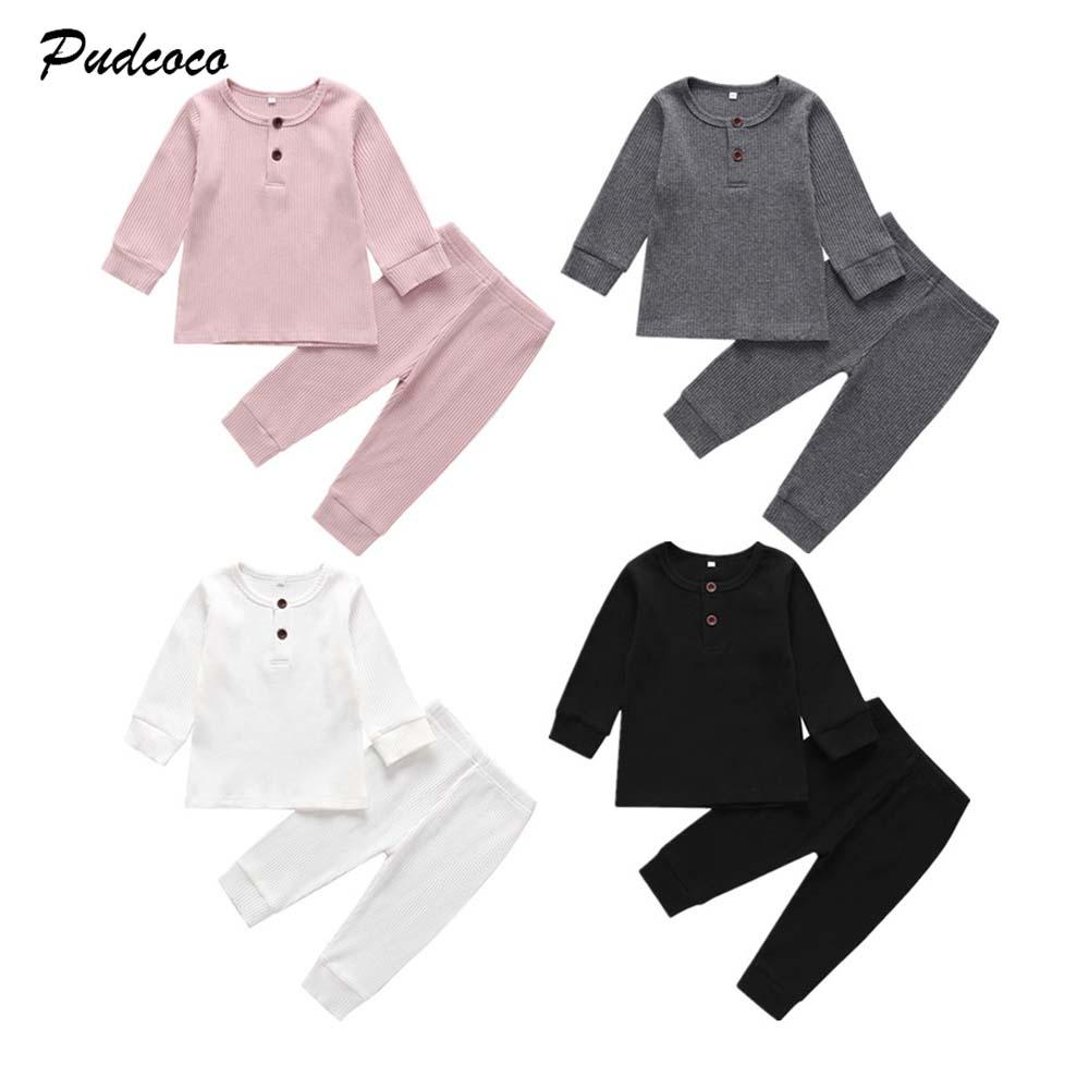 1-3T bébé Printemps Vêtements Automne Set bébés nouveau-nés Garçon Fille Vêtements en tricot de coton à manches longues Hauts Pantalons Kid Set solide Outfit