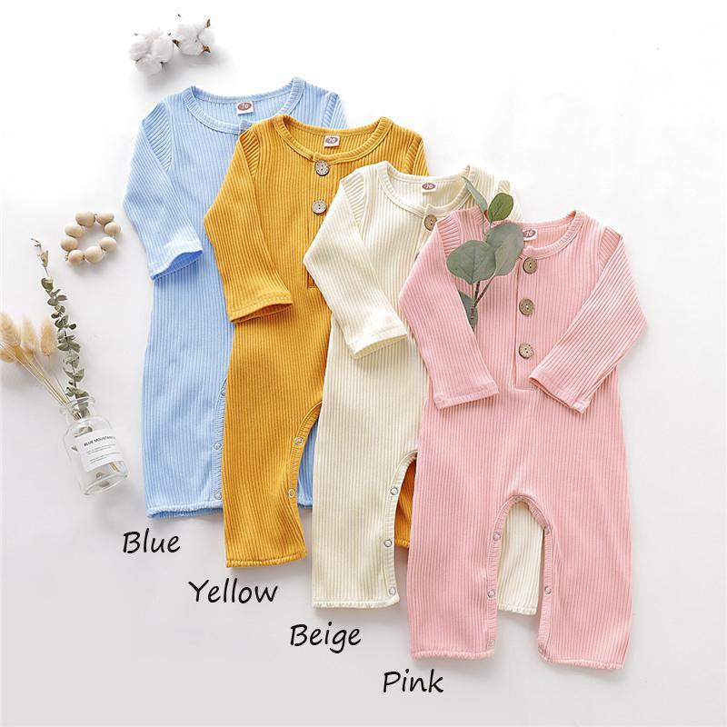 Mikrdoo Infante recém-nascido do bebé menina de algodão manga comprida Romper doces cor sólida Casual roupa Bodysuit