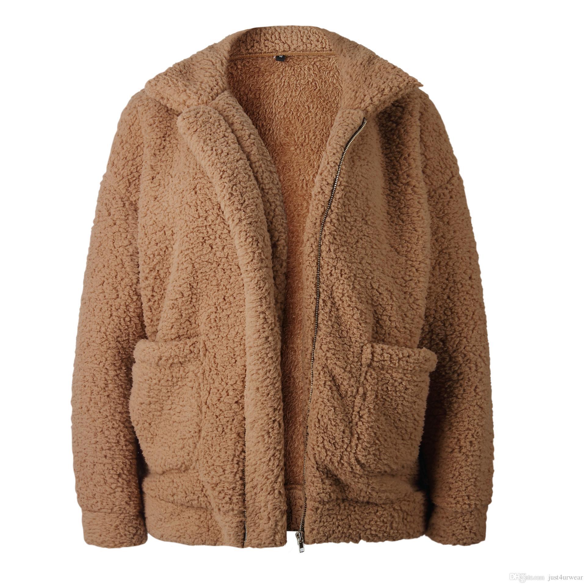 Donna Inverno cappotti Agnello morbido tuta sportiva calda Tops solido di colore con tasca cappotti donna moda casual Cappotti risvolto collo 9 colori