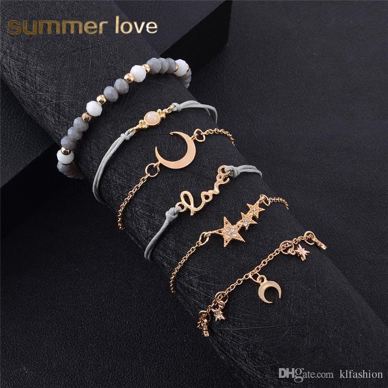 6 pcs / ensemble Or Acrylique Perle Multicouche Tressé Corde Bracelet pour Femmes Star Moon Amour Pendentif En Cristal Classique Bracelet Ensemble Bijoux