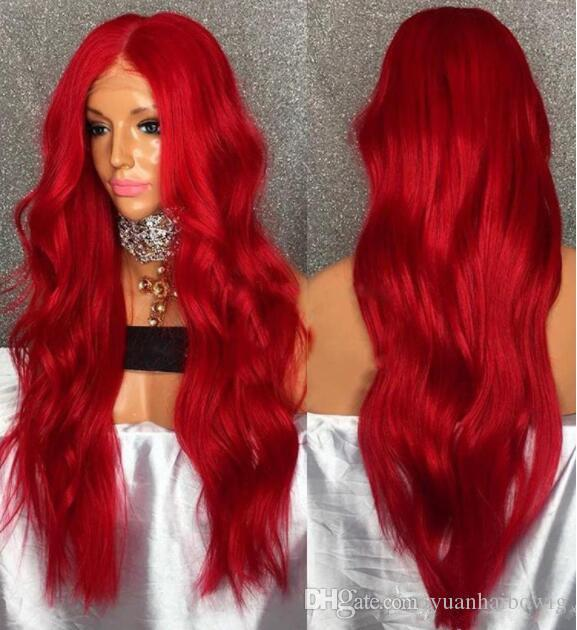 Red Color Human Hair Lace Front Wigs 100