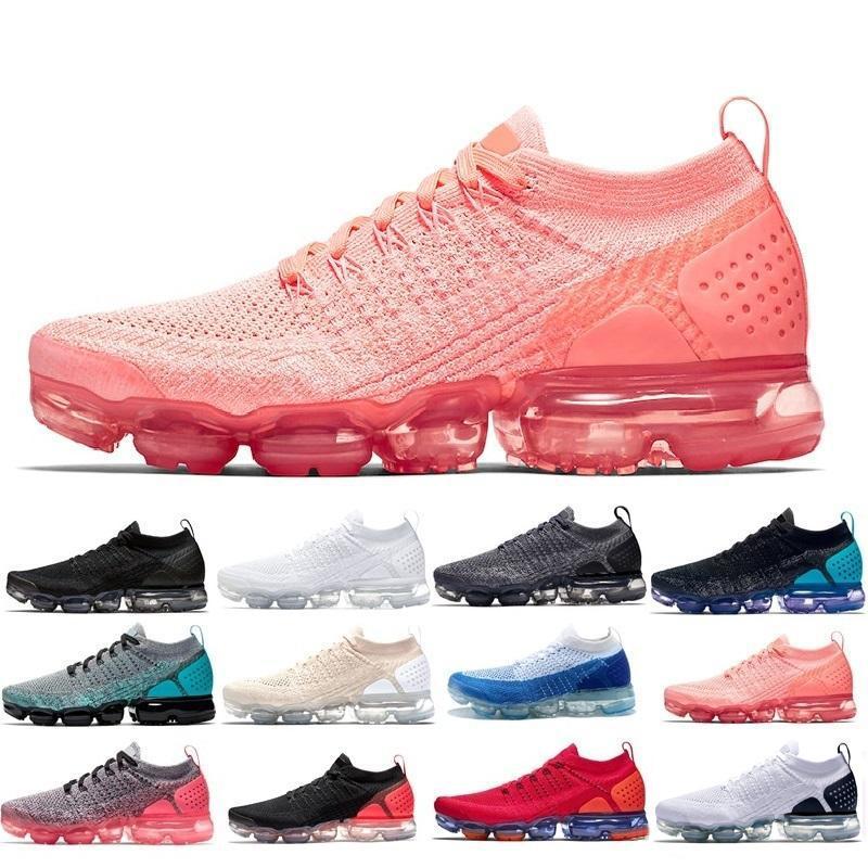 2019 CHAUSSURES는 Moc 2 Laceless 2.0 신발을 실행 배 블랙 디자이너 남성 여성 스니커즈 플라이 화이트 니트 쿠션 트레이너 Zapatos