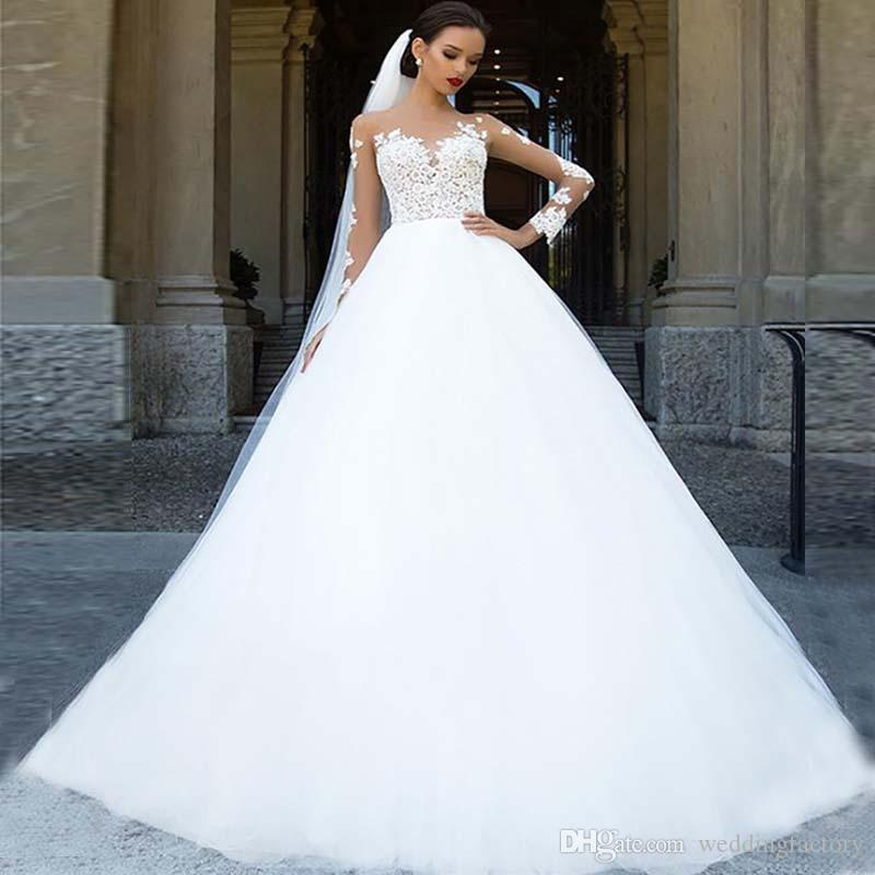 A line wedding dress sheer neck long sleeves lace appliques top tulle bridal gowns with sweep train custom made