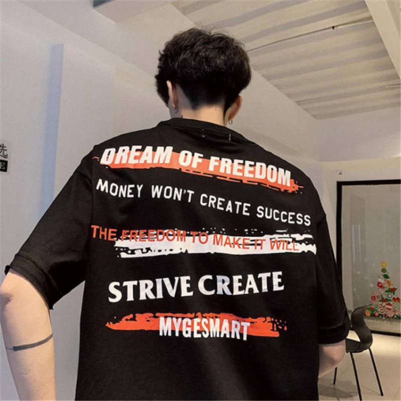 Manga curta Januarysnow T-shirt de algodão Hip Hop Camisetas Casual camisetas engraçado Verão Harajuku Tees Streetwear Moda coreano camisetas