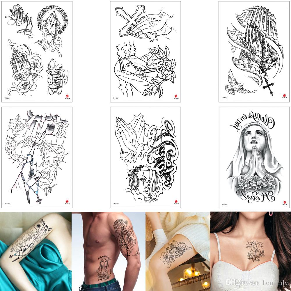 Fake Back Sketch Faith Cross Temporary Tattoo Sticker Design Nun Pigeon Decal Tattoo Transfer Paper Body Art Makeup Lover Woman Man Arm Back