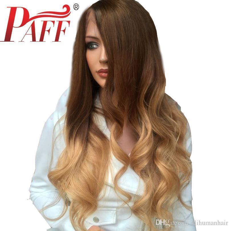 13 * 4 Brésil 4 onduleux 27 Couleur Lace Front perruques de cheveux humains pour les femmes Ombre Couleur des cheveux Remy Glueless Pré plumé bébé cheveux