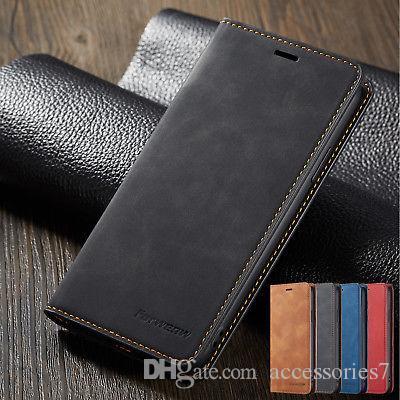 الفاخرة بو الجلود كتاب نمط فليب المحفظة بطاقة حامل صدمات الهاتف حالة تغطية ل iphone 7 8 زائد XR XS MAX سامسونج A8 S9 Note 9 8 Huawei