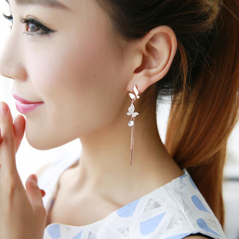 Coreano temperamento dolce orecchini della farfalla strass nappa lunga polsino dell'orecchio degli orecchini Senza Trafitto Ear Clip On