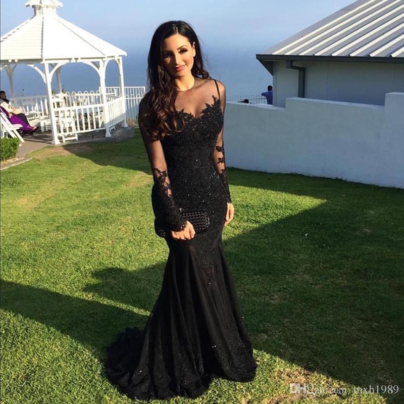 Prom robes noires sexy 2018 Illusion arabe dentelle cristal perles sirène Appliques Manches longues Vestidos de fiesta Robes de soirée formelles