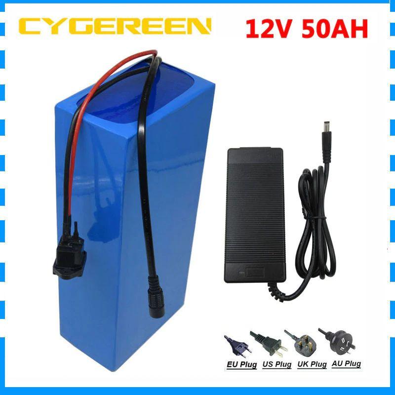 250W / 500W 12V 50AH батарея 12 V 50AH 50000MAH литий-ионный аккумулятор для 12 В 3S LI ION аккумулятор с 30A / 50A BMS 5A зарядное устройство