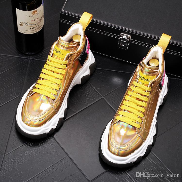 zapatos de cordones inferiores gruesas diseñador de los hombres blancos de la marca de hip hop zapatos de colores mixtos causal Pisos Mocasines varón de alta tapa de la roca para el hombre