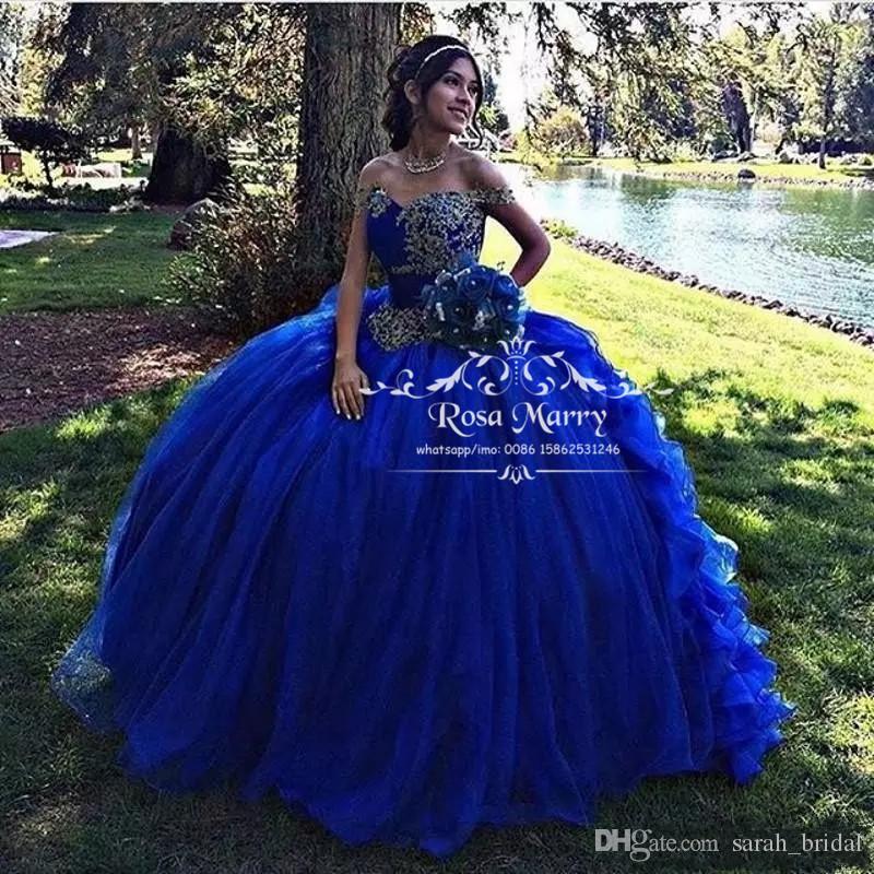 Compre Royal Blue Sweet 16 Vestidos De Quinceañera 2019 Vestido De Fiesta Fuera Del Hombro Apliques De Encaje Con Volantes Vestido 15 Anos Girls