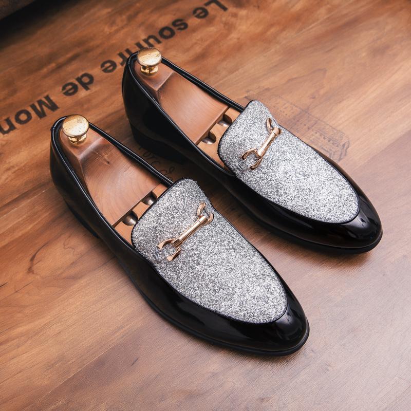 Мода Мокасины Человек поскользнуться на Mens Блеск Обувь Мужской Свадебная обувь партии 4 # 20 / 20d50