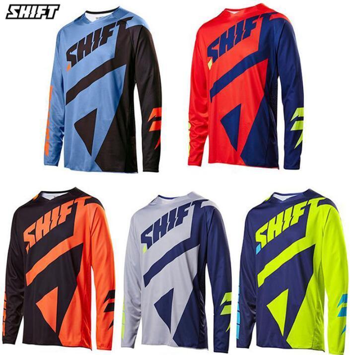 DESLOCAMENTO personalizado Downhill ternos t-shirt dos homens de ternos Summer Long Sleeve Mountain Bike equitação
