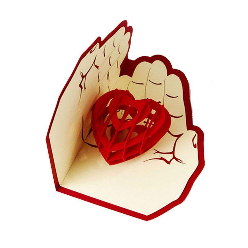 Carte de voeux 3D Pop Up Love In Hands Bonne occasion Valentine Anniversaire Noël D08D