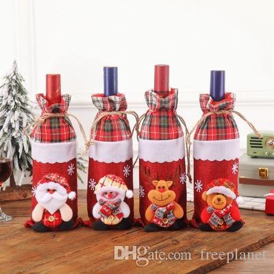 2020 Nouvel An Père Noël bonhomme de neige bouteille de vin housse de protection de Noël Noel Décorations de Noël pour la maison Natal dîner ensemble des vins de Champagne